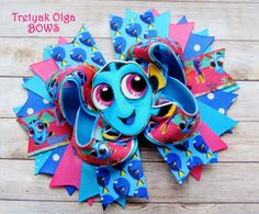 Dory Hair Bow Finding Dory Hair Bow Dory Birthday Bow Nemo Bow OTT Hair Bow Dory Inspired Hairbow Stacked Boutique Bow Finding Dory Party by TretyakOlgaBows on Etsy