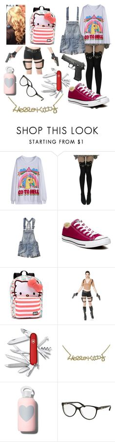 """""""Lydia In A Zombie Apocalypse"""" by foundinwonderland ❤ liked on Polyvore featuring beauty, Abercrombie & Fitch, Converse, Hello Kitty, Victorinox Swiss Army, Noir, bkr and Bulgari"""