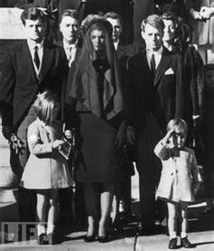 Kennedys Mourn: Members of the Kennedy family at the funeral of assassinated president John F. Kennedy at Washington DC. From left: Senator Edward Kennedy, Caroline Kennedy, (aged Jackie Kennedy - Attorney General Robert Kennedy and John Kennedy - (aged Jackie Kennedy, Les Kennedy, Robert Kennedy, American Presidents, American History, Jfk Funeral, Jfk Jr, People, Interesting History