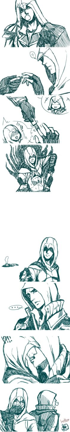(+BL) protocreed doodle 19 by on DeviantArt Assassin's Creed I, Assistant Creed, Assassins Creed Comic, Alex Mercer, The Evil Within, Comics Story, Love Scenes, Anime Poses Reference, Ideas