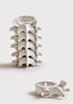 Vertebra – Stackable candle-holder – Enameled porcelain / inches – Design : Celia Nkala - These are pretty cool, except most of our candles don't need holders :( Cerámica Ideas, Decor Ideas, Art Et Design, Ceramic Candle Holders, Votive Holder, Gothic House, Skull And Bones, Ceramic Art, Malm