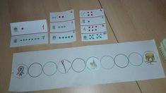 Sorszámlálás gyakorlása. 1-10-ig, az üres karikákba kell a feladatkártyán megjelölt helyre tenni, az adott szimbólumot. Tehát, pl.ha dob és három pötty van mellette (ill.3.) akkor a dobot a 3. karikába kell tenni.... Differenciálás:a kártyákon 2-3 ill. 4 feladat van egyszerre. Dob