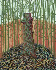 """Nesta obra é destacada a Natureza Morta, com cores frias, verdes escuros, castanhos...Parece uma pintura """"triste"""", """"nua"""" tal como o tronco que se encontra no meio, rodeado de folhas secas e o que vemos por trás é relativamente semelhante, um campo seco, abandonado, parece-me... """"Totem Tree"""" 2008"""