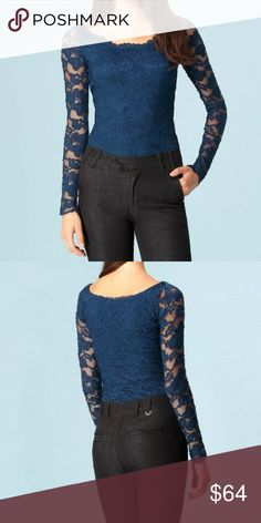 Hale Bob navy lace long sleeve bodysuit New with tags. I also have this in cream and black, in various sizes 😊 Hale Bob Tops Blouses