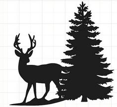 silhouette of deer and tree Christmas Tree Silhouette, Pine Tree Silhouette, Silhouette Painting, Animal Silhouette, Silhouette Cameo Projects, Deer Silhouette Printable, Reindeer Silhouette, Silhouette Images, Christmas Stencils