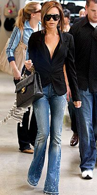 VB working the new flared jeans... Love the tailored look!