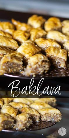Baklava is a deliciously sweet pastry layered with phyllo dough, chopped nuts, then topped with syrup or honey. #baklava #desserts Vegan Breakfast Recipes, Vegan Recipes, Snack Recipes, Dessert Recipes, Snacks, Dessert Ideas, Cookie Recipes, Easy Thanksgiving Recipes, Holiday Recipes