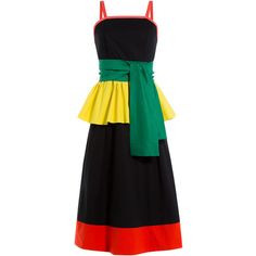 Isa Arfen Colorblock Dress ($480) ❤ liked on Polyvore featuring dresses, black, multicolor, cotton stretch dress, colorful dresses, colorblock dress, stretchy dresses and cotton wrap dress