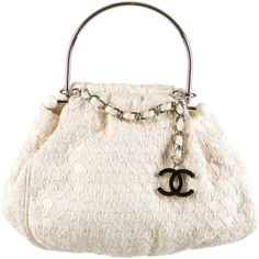 Pre-owned Chanel Knitting Bag ($895) ❤ liked on Polyvore featuring bags, handbags, neutrals, top handle bag, knit bag, cream purse, knit purse and chanel purses