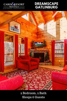 Come relax in the mountains at Dreamscape! This stunning cabin rental in Gatlinburg offers a hot tub, pool table, fireplace, 2 jetted tubs and more!
