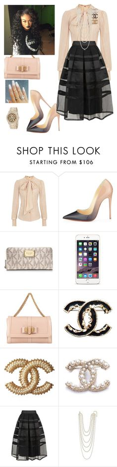 """Happy Father Day!!!! #church"" by cogic-fashion ❤ liked on Polyvore featuring Vivienne Westwood Red Label, Christian Louboutin, MICHAEL Michael Kors, Chanel, Temperley London, Kenneth Jay Lane and XOXO"