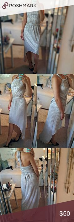 """High-Low silver maxi dress! ✨ Like brand-new, worn once. Says size UK 6/Euro 32 but best for S or even M. I'm 5.7"""". 100% polyester. Best color shows picture number 3. Jane Norman Dresses High Low"""