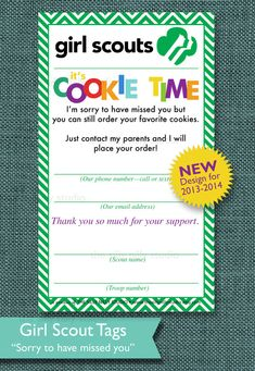Girl Scout Cookie Sales Tags AUTOMATIC by thesillynillystudio