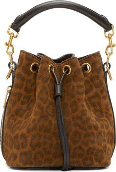 Saint Laurent Brown Leopard Print Small Emmanuelle Bucket Bag