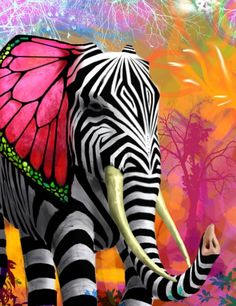 Colorful zebra-striped elephant with butterfly wing ears… painting… psychedelic fantasy by ~joecharley on deviantART Elephant Love, Colorful Elephant, Elephant Shower, Elephant Icon, Elephant Artwork, Tribal Elephant, Elephant Colour, Wild Elephant, Giraffe Art