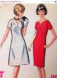 ON SALE McCall's 7198 Vintage Dress Sewing Pattern Mod A LIne Sweetheart neckline 1964 1960s Bust 36 Mad Men