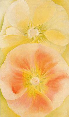 Georgia O'Keeffe Pink and Yellow Hollyhocks 1952