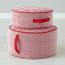 Herringbone poof in red. From the land of nod. landofnod.com