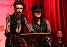 Ashley Purdy and Andy Biersack   ... in this photo james shaffer ashley purdy andy biersack l r recording