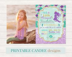 Mermaid Birthday Invitation Mermaid Invite by printablecandee