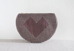 Chocolate Heart Clutch - brown and white circle clutch - Made To Order