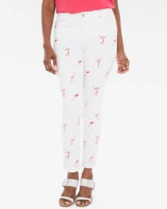 Flamingo Embroidered Girlfriend Ankle Jeans #affiliate