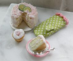 1:12 scale  // Miniature Pink Frosted Cake Set by CynthiasCottageShop on Etsy