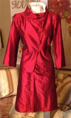 NWT-1460-Armani-Collezioni-Cranberry-Shimmer-Silk-Jacket-Blazer-Skirt-Suit-10