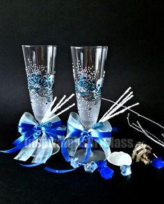 Wedding Champagne Glasses, Hand Painted in Aqua Blue and Silver, Decorated with Crystals, Set of 2