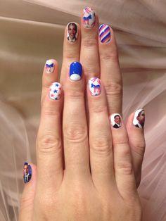 I Am Fabulicious: Katy Perry's Obama Nails    http://iamfabulicious.blogspot.co.uk/2012/10/katy-perrys-obama-nails.html