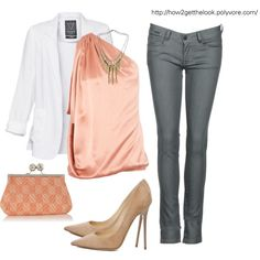 gray skinnies and peach silk top