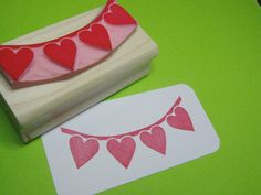 Bunting Stamp - Loved Up Heart Bunting - Hand carved rubber stamp