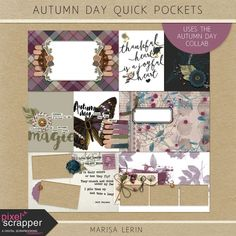 Autumn Day Quick Pockets Kit  | digital scrapbooking | project life, pocket cards, journal cards, pocket scrapping, fall