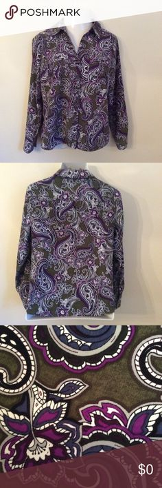 Pretty Paisley Shirt 10% Polyester.  Colors are Olive Green,Purple, Burgundy, Cream, and Blue. Croft and Barrow Tops Button Down Shirts