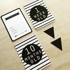 http://www.ruggabub.com.au/unique-gifts/stripe-baby-black-milestone-card-set/ Stripe Baby Black Milestone Card Set