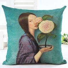 Chegam novas de Venda Quente Clássica Impressão Da Menina de Flor de Linho de Algodão Lance Capa de Almofada Travesseiro Sofá Pillow Cojines em Capa de almofada de Home & Garden no AliExpress.com | Alibaba Group