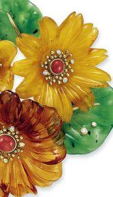 Marchak - Broche 'Fleurs' - Or, Corail, Ambre, Diamants et Grenat Hydrogrossulaire