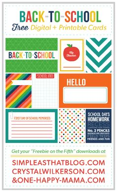 Printable Back to School Journaling and Filler Cards