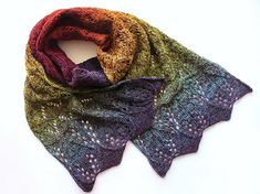 "lazy-vegetarian: ""Rainbow Lace Scarf by Daria Darovskikh (free pattern on Ravelry) "" Once again! I'm in lovely with everything here AND a FREE Ravelry pattern - doesn't get better. Knitted Shawls, Crochet Scarves, Crochet Shawl, Knit Crochet, Shawl Patterns, Knitting Patterns Free, Free Pattern, Ravelry, Rainbow Laces"