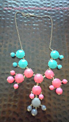 Insane!  Pink Grey and Teal Color Blocked Bubble by PinkBowBathBoutique, $40.00