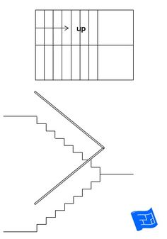 Scissor switch staircase. Click through to the website to read about staircase design considerations and lots more on home design. Home Stairs Design, Attic Design, House Design, Interior Design, House Layout Plans, House Layouts, Craftsman Style Kitchens, Stair Plan, Types Of Stairs