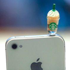 Kawaii STARBUCKS FRAPPE in 4 Colors to pick Iphone Earphone Plug/Dust Plug - Cellphone Headphone Handmade Decorations via Etsy