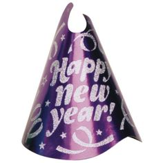 New Years Purple Glitter Foil Cone Hat 9in