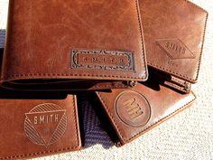Personalized Men's Leather Wallet Custom by SwankyBadgerDesign