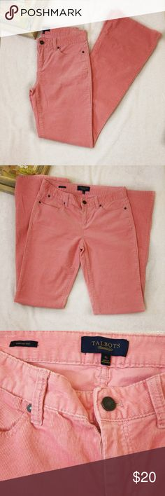 Talbots Signature Courduroy Bootcut Pants Pink 4L Never worn,  only washed Talbots pink pants in size 4L (long).   Please refer to picture 6 for discoloration. It can barely be seen.   Fabrics: 98 cotton,  2 spandex  Lay flat measurements : waist 14 3/4, inseam 33 3/4, rise 9. The legs are long. Talbots Pants Boot Cut & Flare