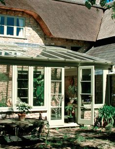 Lean-to-style bespoke conservatory Cottage, House, Outside Living, House Windows, Victorian Gardens, Cottage Inspiration, House Inspiration, Garden Buildings, Lean To Conservatory