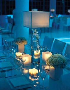 Blue and white wedding table ideas wedding trends enticing. Blue Wedding Receptions, Wedding Reception Lighting, Wedding Table, Decoration Table, Table Centerpieces, Wedding Centerpieces, Wedding Decorations, Modern Centerpieces, Centerpiece Ideas