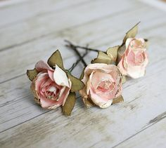 White and Pink Flower Hair Pins Paper Flowers by rosesandlemons, $12.00