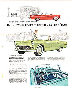 Absolutely Iconic 1956 Vintage Mid-Century Modern Ad- Ford Thunderbird for '56 Even Dreamier, Even Newer!
