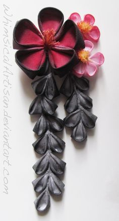 Red and black plum blossoms / kanzashi by WhimsicalArtisan on DeviantArt